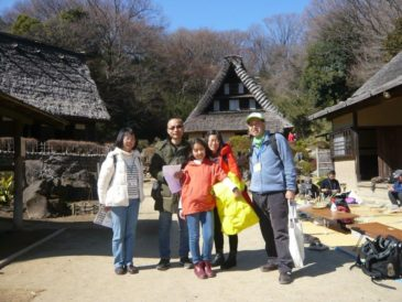 A Chinese Family of Three from Guangzhou Enjoys Quiet Nihon Minkaen or Japan Open –Air Folk House Museum