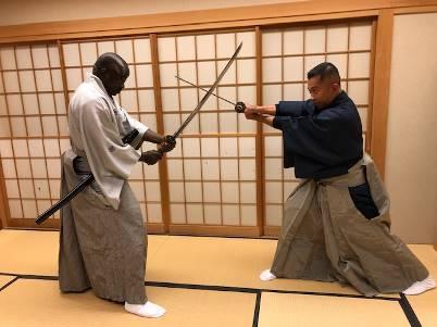 Improvised Samurai with Kimono and Japanese Sword