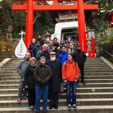 江の島で河津桜と富士山を楽しむ