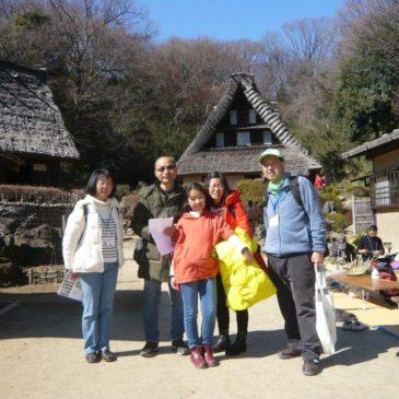 中国人家族3名、静かな川崎民家園を満喫