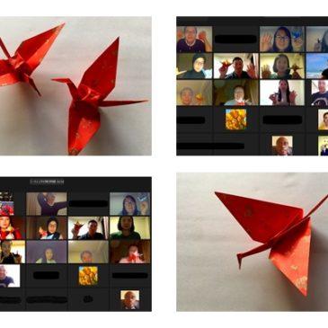 リモートで折り紙指導 羽ばたく鶴が一番人気